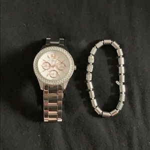 Fossil Stainless Steel Watch and Bracelet Set